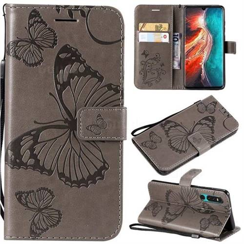 Embossing 3D Butterfly Leather Wallet Case for Huawei P30 - Gray