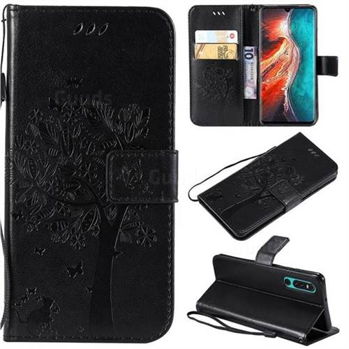 Embossing Butterfly Tree Leather Wallet Case for Huawei P30 - Black