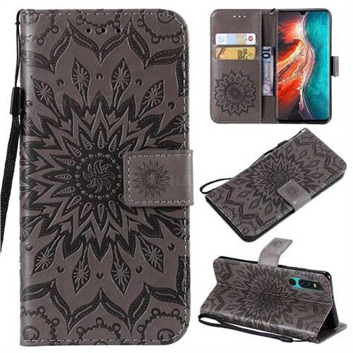 Embossing Sunflower Leather Wallet Case for Huawei P30 - Gray