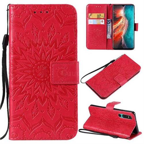 Embossing Sunflower Leather Wallet Case for Huawei P30 - Red