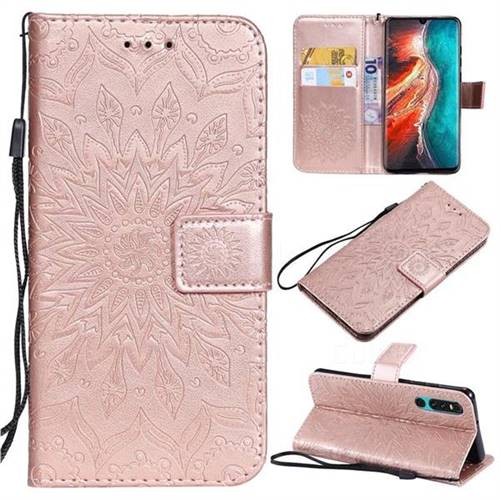 Embossing Sunflower Leather Wallet Case for Huawei P30 - Rose Gold