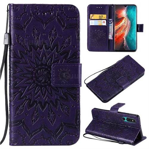 Embossing Sunflower Leather Wallet Case for Huawei P30 - Purple