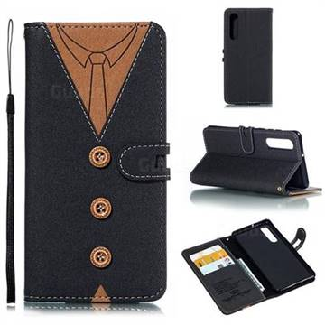 Mens Button Clothing Style Leather Wallet Phone Case for Huawei P30 - Black