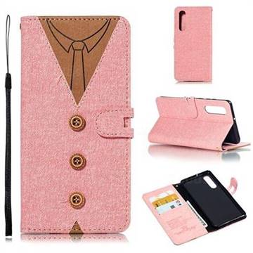 Mens Button Clothing Style Leather Wallet Phone Case for Huawei P30 - Pink