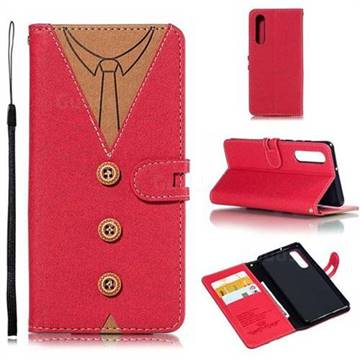 Mens Button Clothing Style Leather Wallet Phone Case for Huawei P30 - Red
