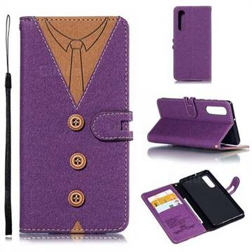 Mens Button Clothing Style Leather Wallet Phone Case for Huawei P30 - Purple