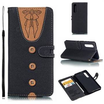 Ladies Bow Clothes Pattern Leather Wallet Phone Case for Huawei P30 - Black