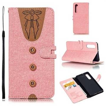 Ladies Bow Clothes Pattern Leather Wallet Phone Case for Huawei P30 - Pink