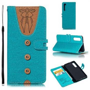 Ladies Bow Clothes Pattern Leather Wallet Phone Case for Huawei P30 - Green