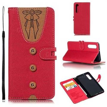 Ladies Bow Clothes Pattern Leather Wallet Phone Case for Huawei P30 - Red