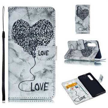 Marble Heart PU Leather Wallet Phone Case for Huawei P30 - Black