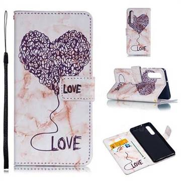 Marble Heart PU Leather Wallet Phone Case for Huawei P30 - Purple