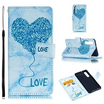 Marble Heart PU Leather Wallet Phone Case for Huawei P30 - Blue