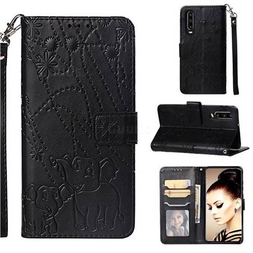 Embossing Fireworks Elephant Leather Wallet Case for Huawei P30 - Black