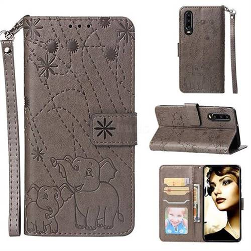 Embossing Fireworks Elephant Leather Wallet Case for Huawei P30 - Gray