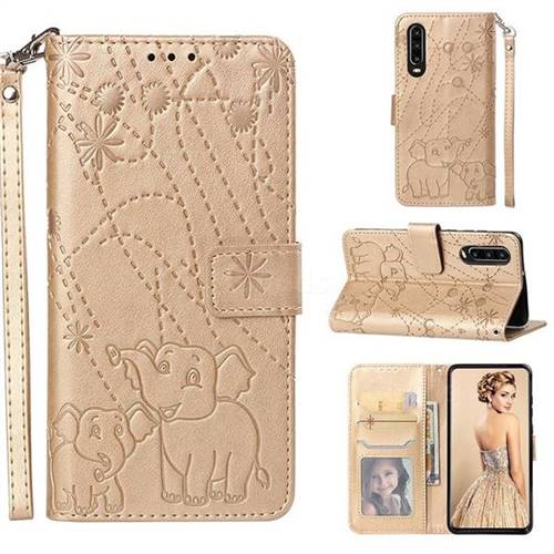 Embossing Fireworks Elephant Leather Wallet Case for Huawei P30 - Golden