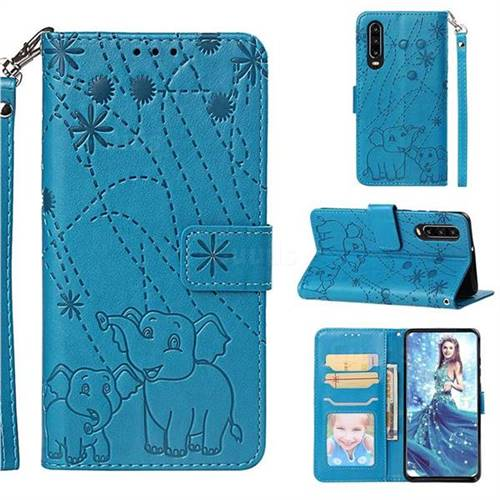 Embossing Fireworks Elephant Leather Wallet Case for Huawei P30 - Blue