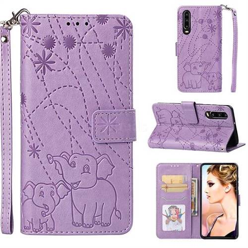 Embossing Fireworks Elephant Leather Wallet Case for Huawei P30 - Purple