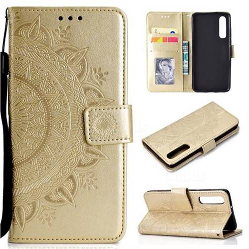 Intricate Embossing Datura Leather Wallet Case for Huawei P30 - Golden