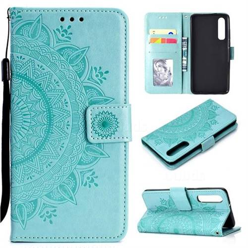 Intricate Embossing Datura Leather Wallet Case for Huawei P30 - Mint Green