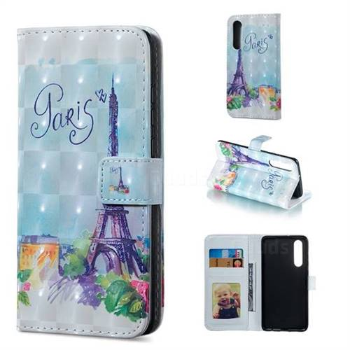 Paris Tower 3D Painted Leather Phone Wallet Case for Huawei P30