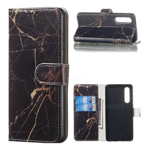 Black Gold Marble PU Leather Wallet Case for Huawei P30