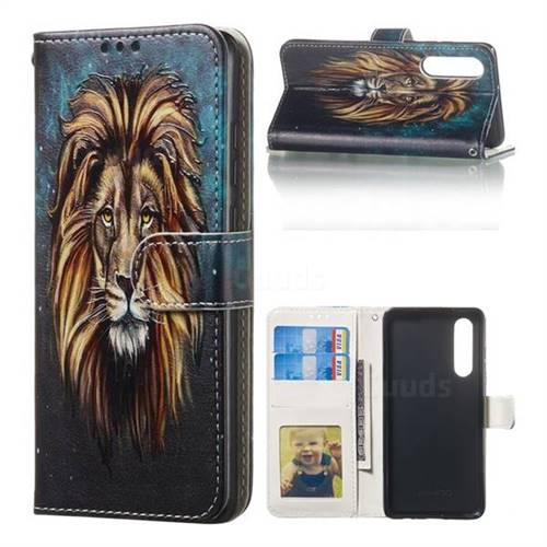 Ice Lion 3D Relief Oil PU Leather Wallet Case for Huawei P30