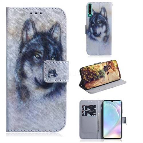 Snow Wolf PU Leather Wallet Case for Huawei P30