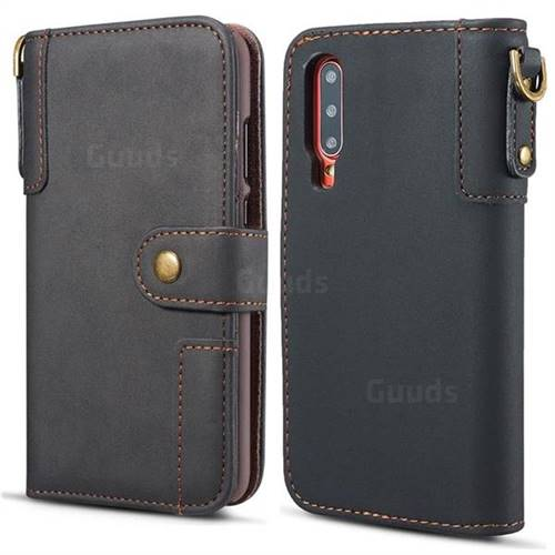 Retro Luxury Cowhide Leather Wallet Case for Huawei P30 - Black