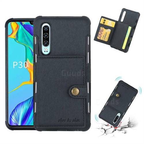 Brush Multi-function Leather Phone Case for Huawei P30 - Black