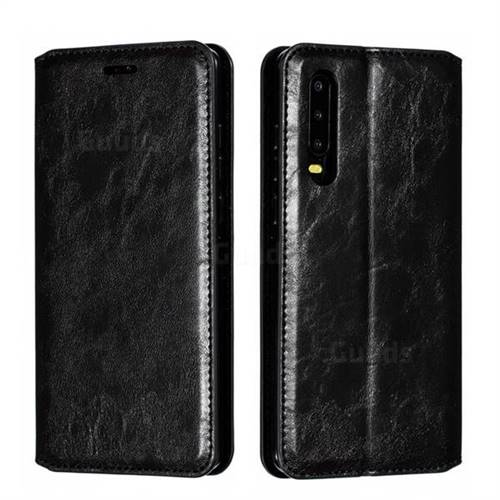Retro Slim Magnetic Crazy Horse PU Leather Wallet Case for Huawei P30 - Black