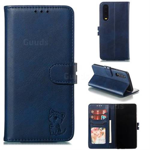 Embossing Happy Cat Leather Wallet Case for Huawei P30 - Blue
