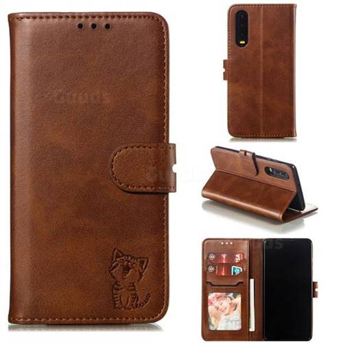 Embossing Happy Cat Leather Wallet Case for Huawei P30 - Brown