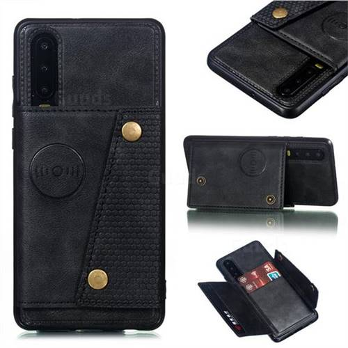 Retro Multifunction Card Slots Stand Leather Coated Phone Back Cover for Huawei P30 - Black