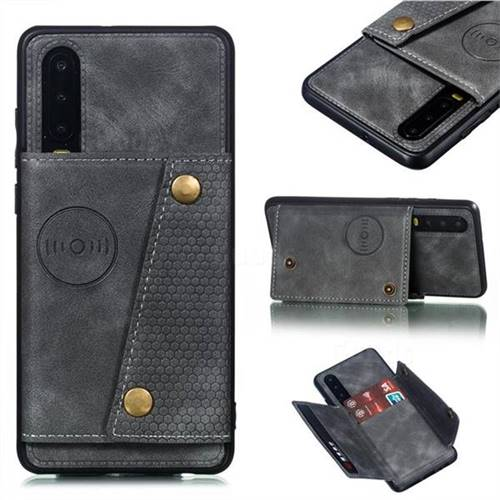 Retro Multifunction Card Slots Stand Leather Coated Phone Back Cover for Huawei P30 - Gray
