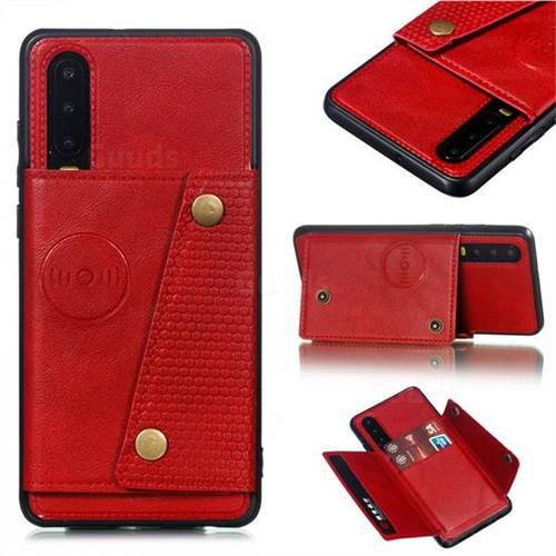 Retro Multifunction Card Slots Stand Leather Coated Phone Back Cover for Huawei P30 - Red