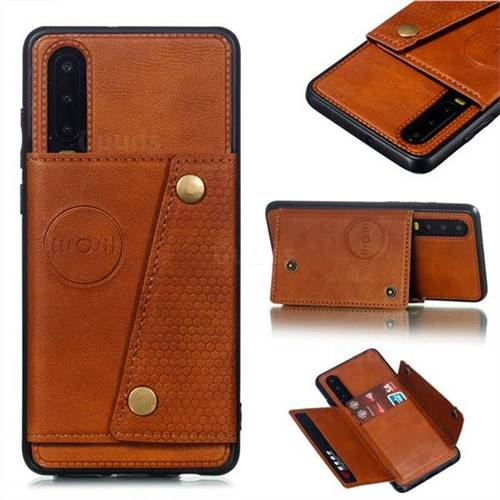 Retro Multifunction Card Slots Stand Leather Coated Phone Back Cover for Huawei P30 - Brown