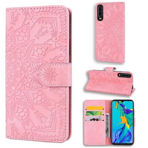 Retro Embossing Mandala Flower Leather Wallet Case for Huawei P30 - Pink