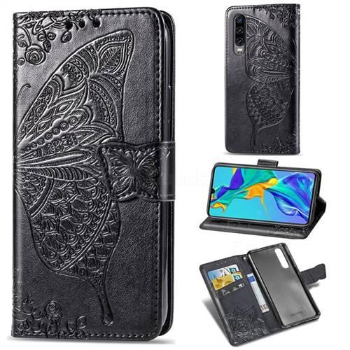 Embossing Mandala Flower Butterfly Leather Wallet Case for Huawei P30 - Black