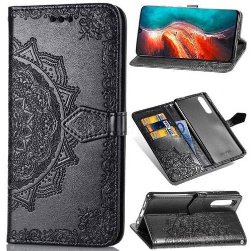 Embossing Imprint Mandala Flower Leather Wallet Case for Huawei P30 - Black