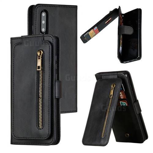 Multifunction 9 Cards Leather Zipper Wallet Phone Case for Huawei P30 - Black