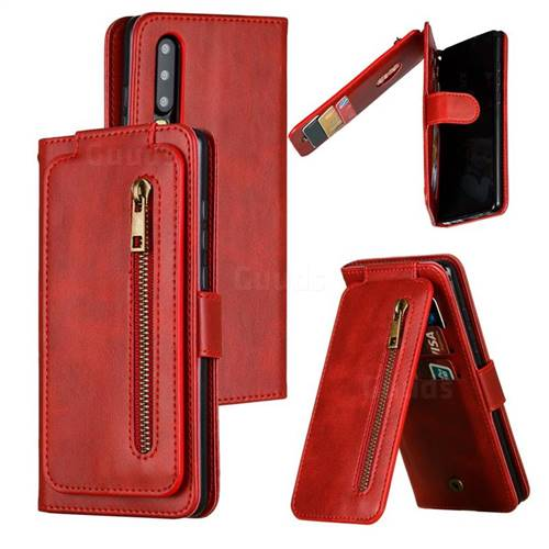 Multifunction 9 Cards Leather Zipper Wallet Phone Case for Huawei P30 - Red