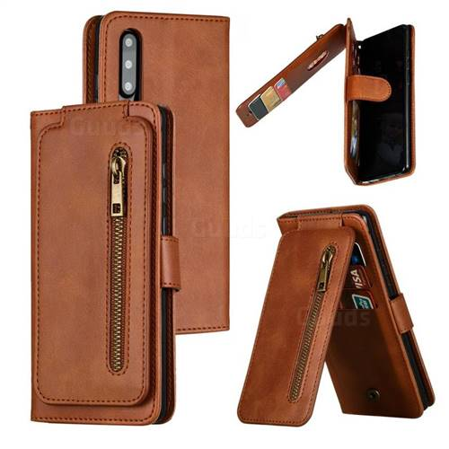Multifunction 9 Cards Leather Zipper Wallet Phone Case for Huawei P30 - Brown