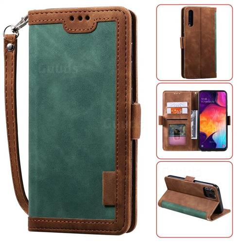 Luxury Retro Stitching Leather Wallet Phone Case for Huawei P30 - Dark Green