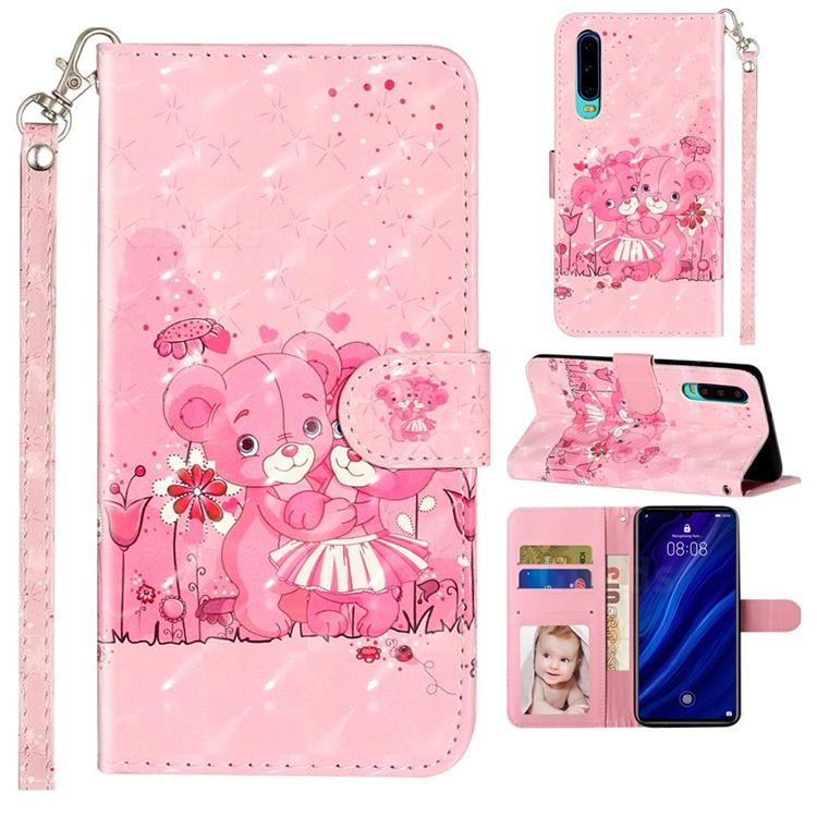 Pink Bear 3D Leather Phone Holster Wallet Case for Huawei P30