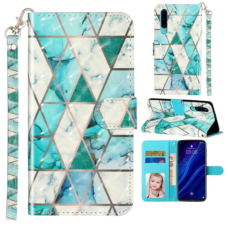 Stitching Marble 3D Leather Phone Holster Wallet Case for Huawei P30