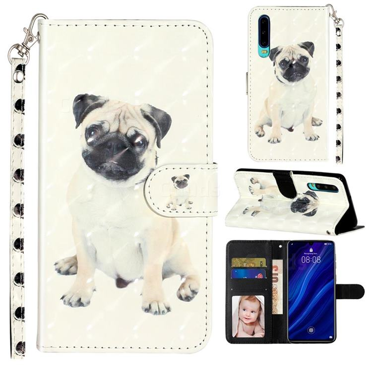 Pug Dog 3D Leather Phone Holster Wallet Case for Huawei P30