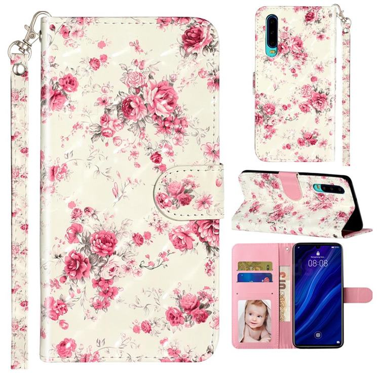 Rambler Rose Flower 3D Leather Phone Holster Wallet Case for Huawei P30