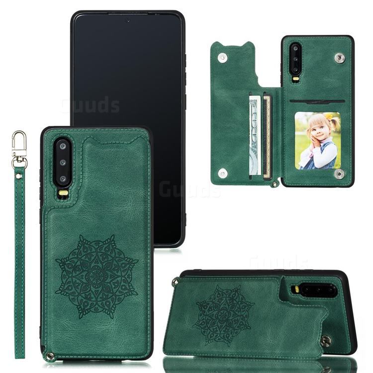 Luxury Mandala Multi-function Magnetic Card Slots Stand Leather Back Cover for Huawei P30 - Green