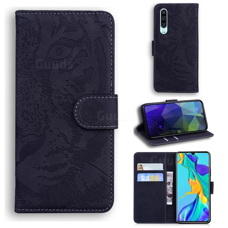 Intricate Embossing Tiger Face Leather Wallet Case for Huawei P30 - Black